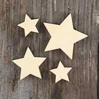 Plus de 100 petits plain wooden pointed stars craft shape 3mm contreplaqué 2-4cm t