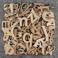 over 75 small wooden letters pack 3mm plywood main image