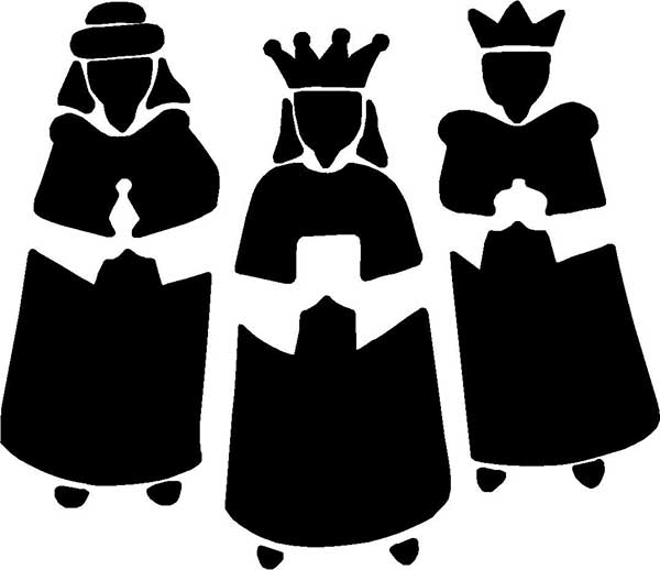 stencil christmas nativity three kings with gifts