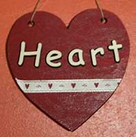 Heart craft shape with wooden letters